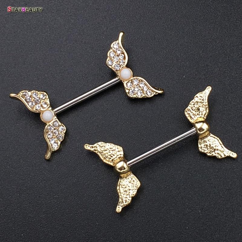 Starbeauty 2pcs lot angel wing nipple piercing mamilo sexy for Angel wings nipple piercing jewelry