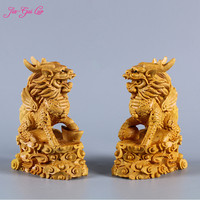 JIA GUI LUO Boxwood carving solid wood Chinese home office decoration fine carving crafts Feng Shui gifts unicorn A004