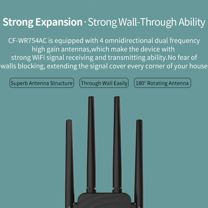 1200Mbps Wireless Wifi Extender Repeater Router Dual Band With Antenna Signal Amplifier WIF66