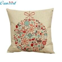 Ouneed feliz 2016 Nueva alta calidad belleza 45x45cm Vintage Navidad cama hogar funda de almohada