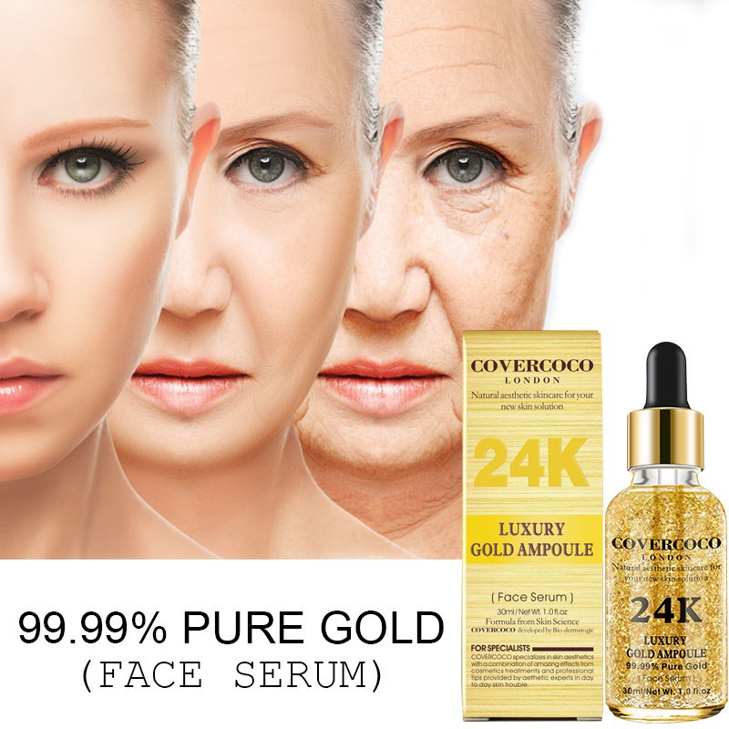 24 K Gold Face Serum Firming Moisturizing Anti-Wrinkle Anti-Aging Skin Care Moisturizer