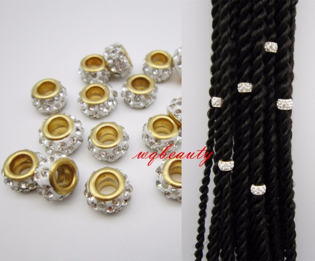 Dreadlock Beads 20pcs 200pcs Hair Braid Dread Clips Cuffs Golden White Color
