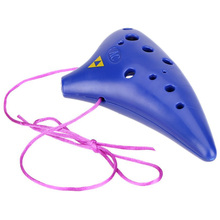 Wholesale 5X 12 Hole Ocarina Plastic Alto C Vessel Flute Wind Musical Instrument Legend with Music Score Blue