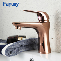 Fapully Rose Gold Bathroom Basin Faucet Single Handle Mixer Tap Deck Mounted Hot And Cold Tap Sink
