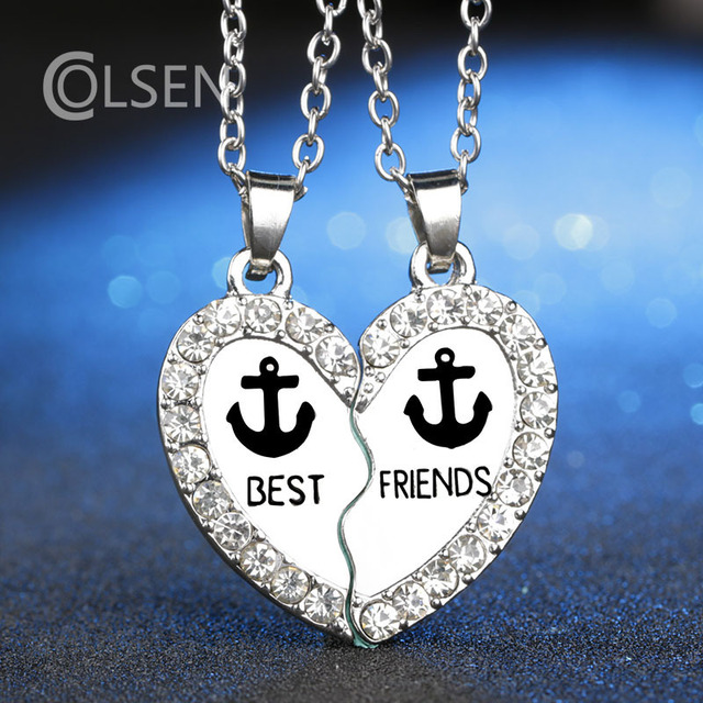 Aliexpress buy colsen new 2pcs set crystal heart best friend colsen new 2pcs set crystal heart best friend broken pendant anchors necklace girlfriends necklace fashion for aloadofball Choice Image