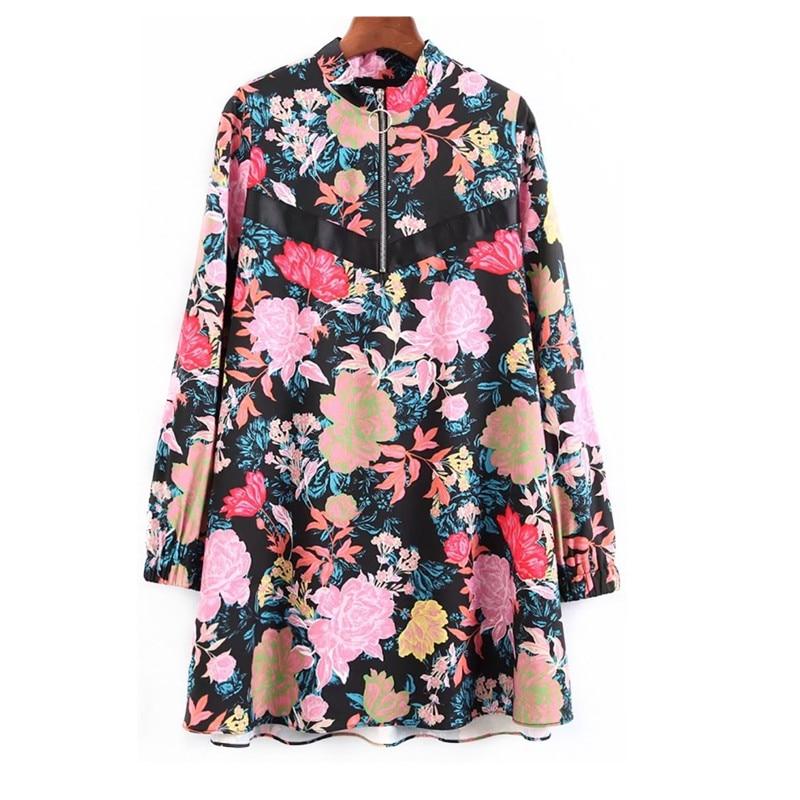 2018 Sale women Dress Spring New European And American Flowers Printing Collar Zip Word Dress
