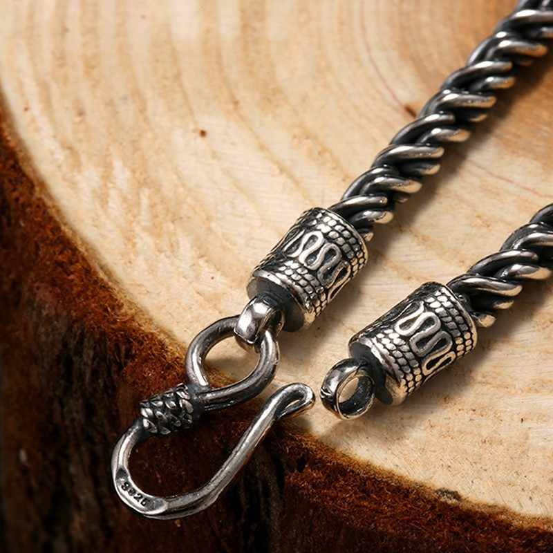 ZABRA luksusowe 925 Sterling srebrny Hip nadzieję, że naszyjnik dla mężczyzn 4mm 55cm w stylu Vintage łańcuch Gothic Steampunk tajski srebrny biker biżuteria