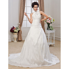 Lan Ting Bride A Line Princess Halter Chapel Train Wedding Dress Taffeta Bridal Gown With