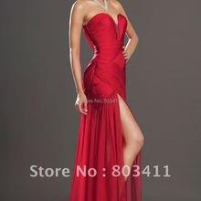 Стильный корсет с рюшами спереди с разрезом Красный шифон развертки поезд вечернее платье eveningdress