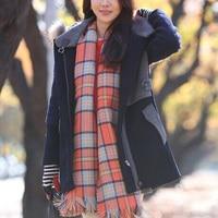 New Designer Scarf Oversized Women Winter Orange Plaid Pashmina Faux Cashmere Scarf Poncho Scarves Shawl Warm
