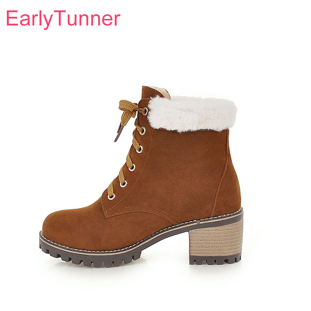 Brand New Winter Comfortable Beige Brown Women Platform Combat Boots Vogue Square Heels Lady Snow Shoes EL73 Plus Big Size 33 43 все цены