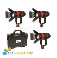 3 pces CAME TV boltzen 55w fresnel focusable led kit bicolor led luz de vídeo