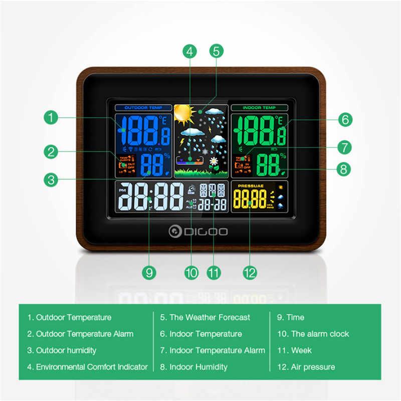c11051852e7e ... Digoo DG-TH8878 madera USB carga Estación Meteorológica Inalámbrica  pantalla a todo Color de humedad
