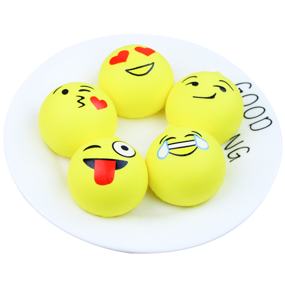 New Kawaii Squishy Emoji Face Bag Cell Phone Strap DIY Decor Cute Animal Charm Pattern Expression Random