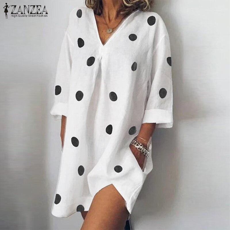 Fashion ZANZEA Women V Neck Long Sleeve Vestido Robe Femme Polka Dot Mini Dress Summer Casual Party Sundress Baggy Loose Dress