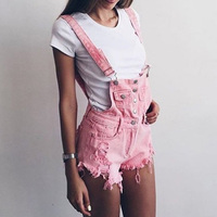 2018 Casual jeans overalls Summer rompers Womens pink playsuits Fashion Denim overalls Femme Hole bottom jeans shorts   jumpsuit
