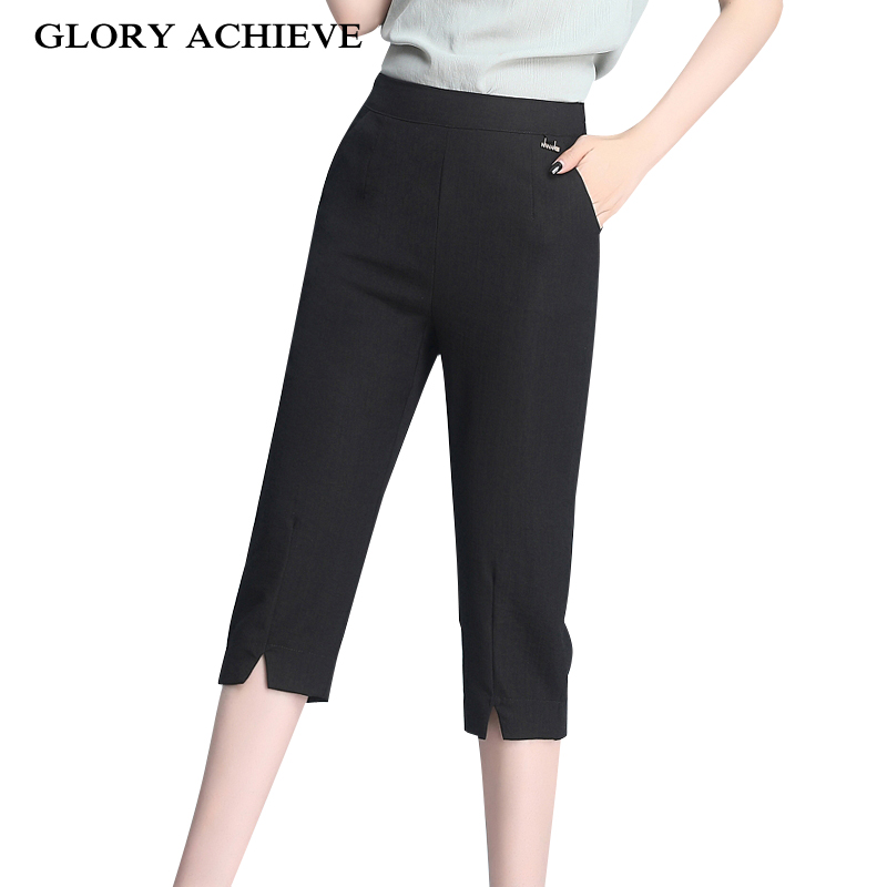 Office Lady   Pants   Women 2019 Summer Style New Calf Length   Pants   Casual Elastic Waist   Pants     Capris   Trousers Women Plus Size S-4XL