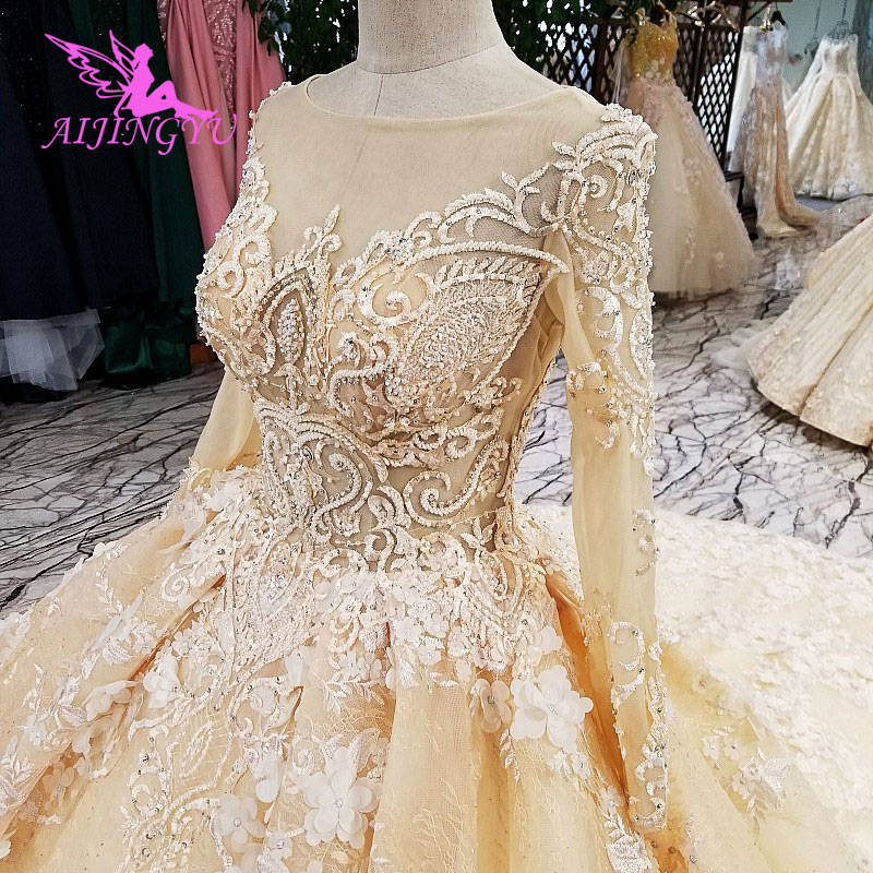 AIJINGYU Garden Wedding Gown Collection Newest Cheap Plus Size Satin Ruffle Unusual Gowns Wedding Dresses
