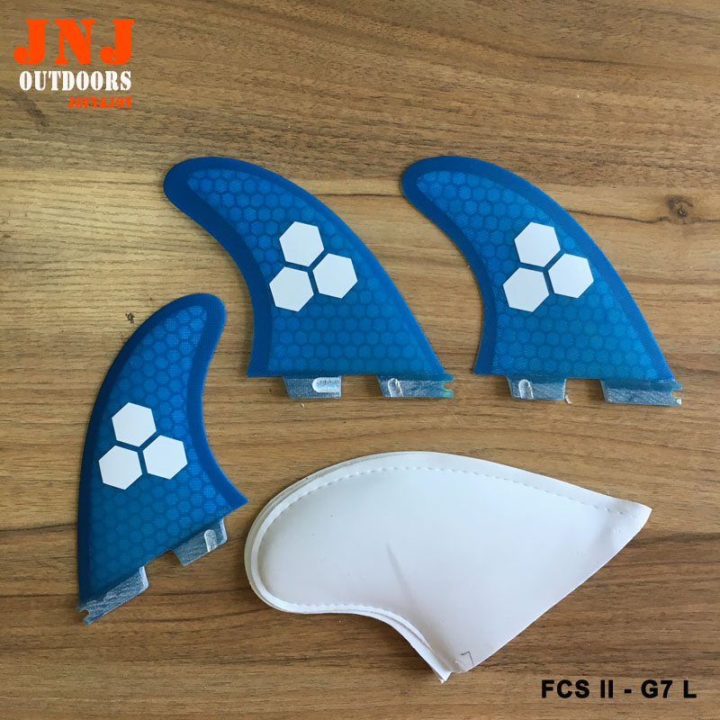 JNJ brand new FCS 2 large size surfboard fins FCS II G7 L thruster fin made by honeycomb and fiberglass