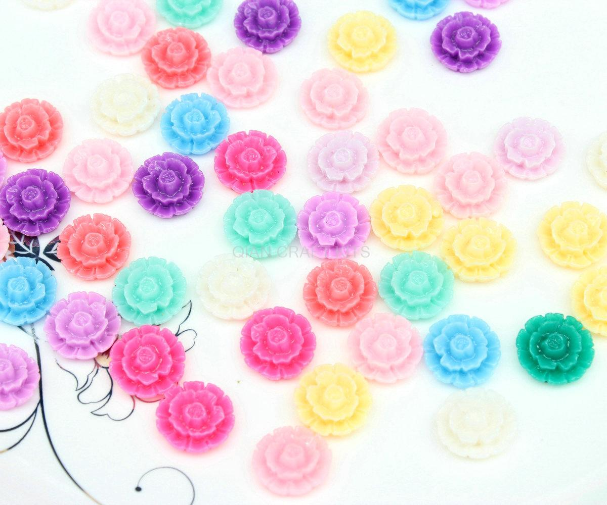350pcs mini 13mm Mixed Color Flower Beads, Swirl cabbage Flower Bouquet Resin Flower Cabs Resin Decoden Kawaii Cabochons