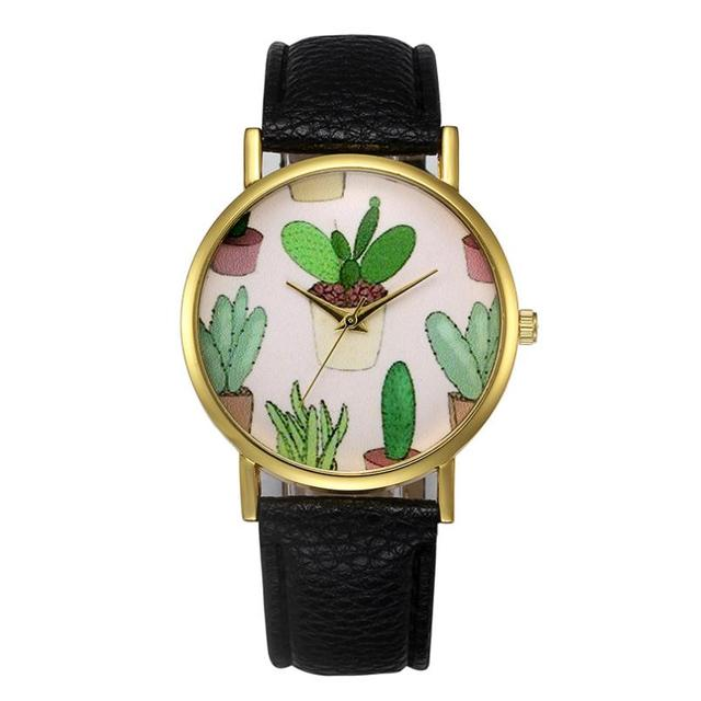 New arrival montre femme women watches high quality cactus pattern relogio mascu