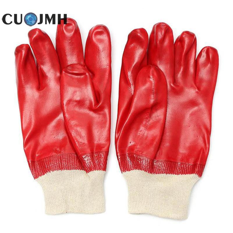 1 Pair Red Oil Resistance Gloves Wear-resisting Pvc Red Gum Leather Working Gloves Waterproof Workplace Safety Hand Protection цена 2017