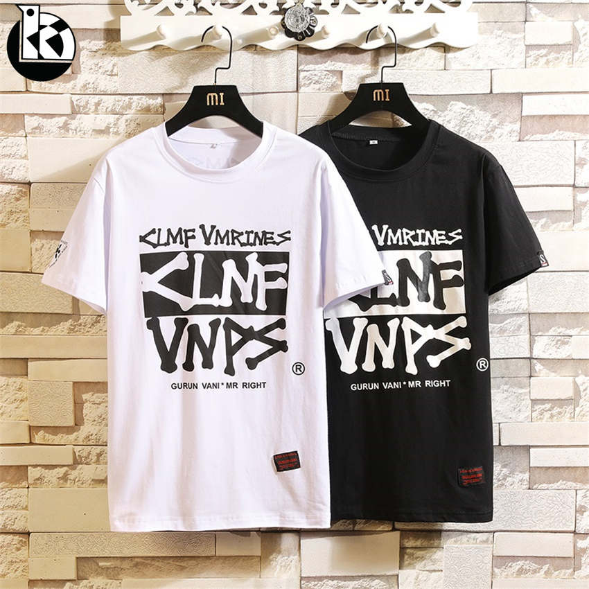 2019 Summer New Round Neck Large Size Short Sleeve Tshirts Men Fashion Casual Slim Trend Creative Letter Printing Mens T shirt 1