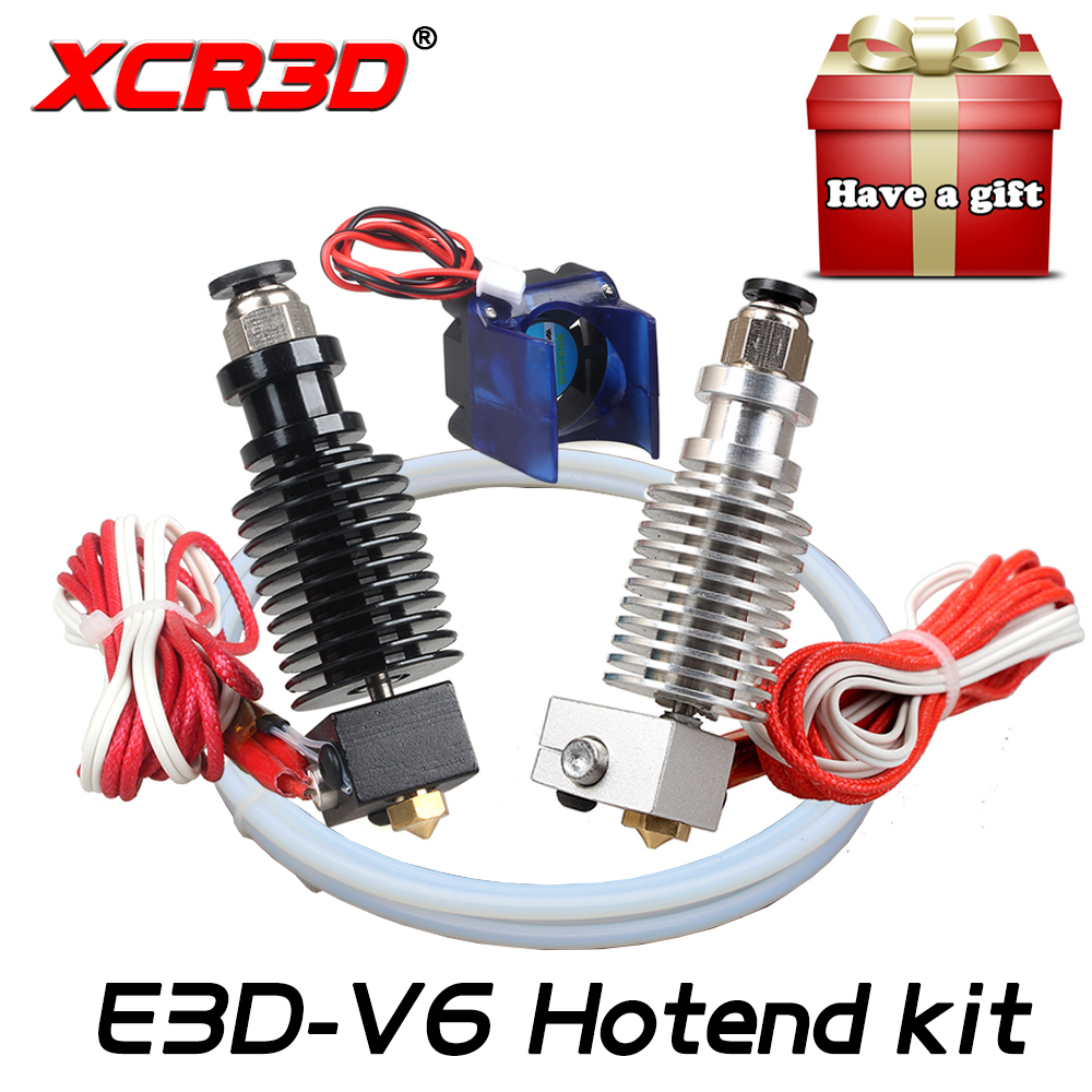 Envío Gratis XCR3D 3D piezas de la impresora E3D V6 salida Hotend Kit 0,4/1,75 MM J-La remoto extrusora 12 V 12 V 24 V con ventilador de refrigeración de tubo de teflón