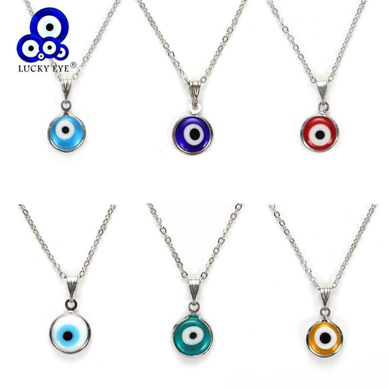 Lucky Eye Colorful Evil Eye Pendant Choker Necklace Resin Charms Necklace Jewelry For Women Men Hand Made EY4982