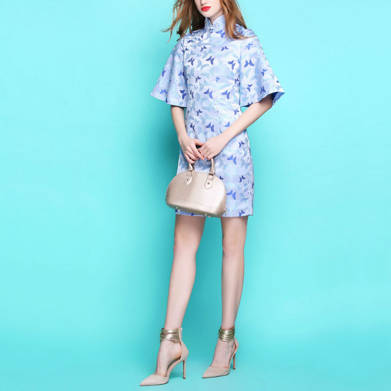 Limitation font b Classical b font Chinese Style Stand Collar Horn Half Sleeve Damask Cheongsam