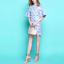 [Limitation] Classical Chinese Style Stand Collar Horn Half Sleeve Damask Cheongsam Formal Dress One-piece Dress S~3XL