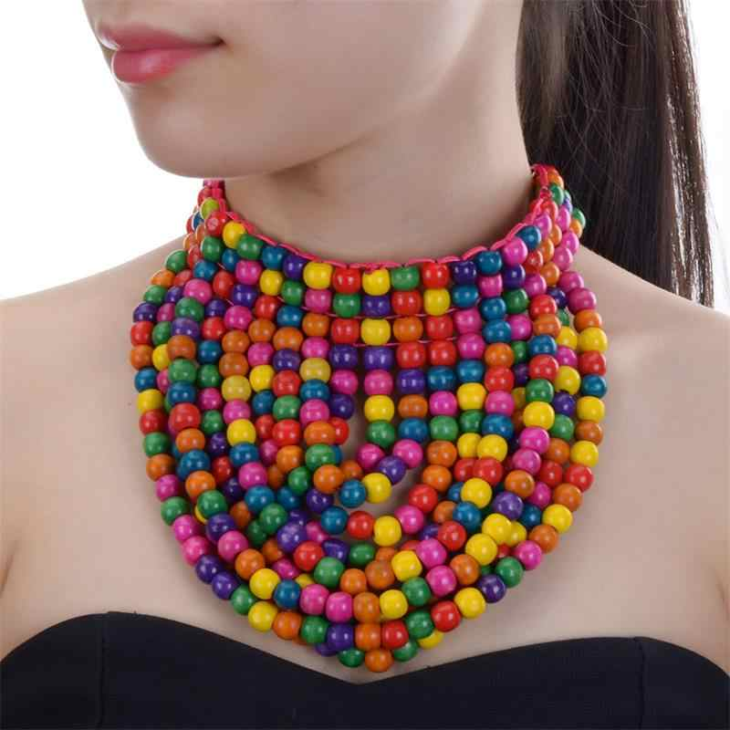 JEROLLIN Bohemian layered Colorful Wood Beads Pendants Necklace For Women Handmade Statement Necklace Beach Jewelry