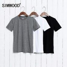 Simwood 2017 verano hombres de la marca de algodón de manga corta flaco camiseta camisa ocasional sólido del o-cuello tops y camisetas masculinas plus tamaño td1067(China (Mainland))