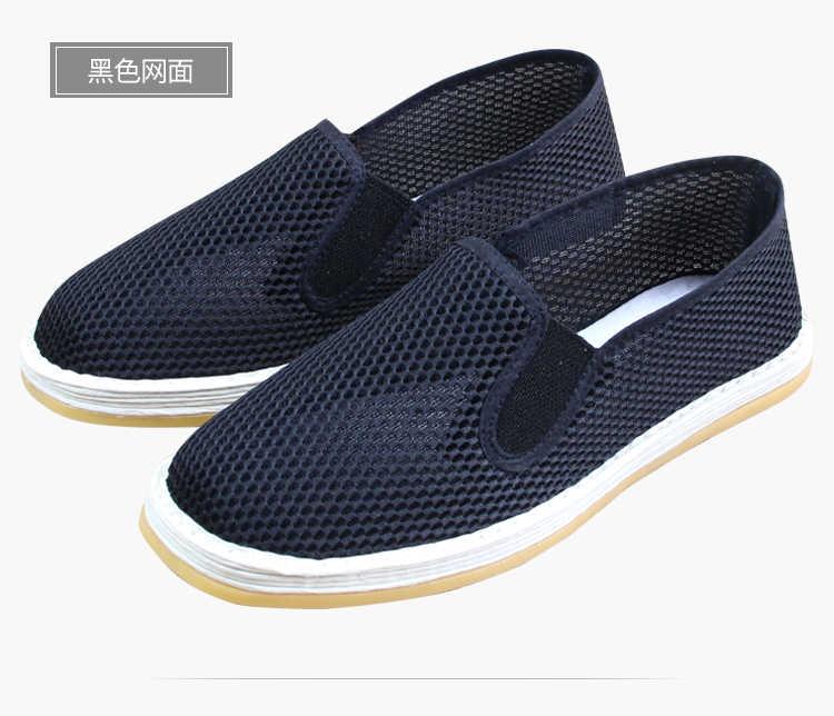 ユニセックス夏手作り綿ネットカンフー武道武術太極拳スニーカーレイ靴サンダル少林寺僧侶靴黒