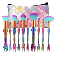 New Arrival 10Pc Mermaid Foundation Eyeshadow Contour Eye Lip Makeup Brushes Set