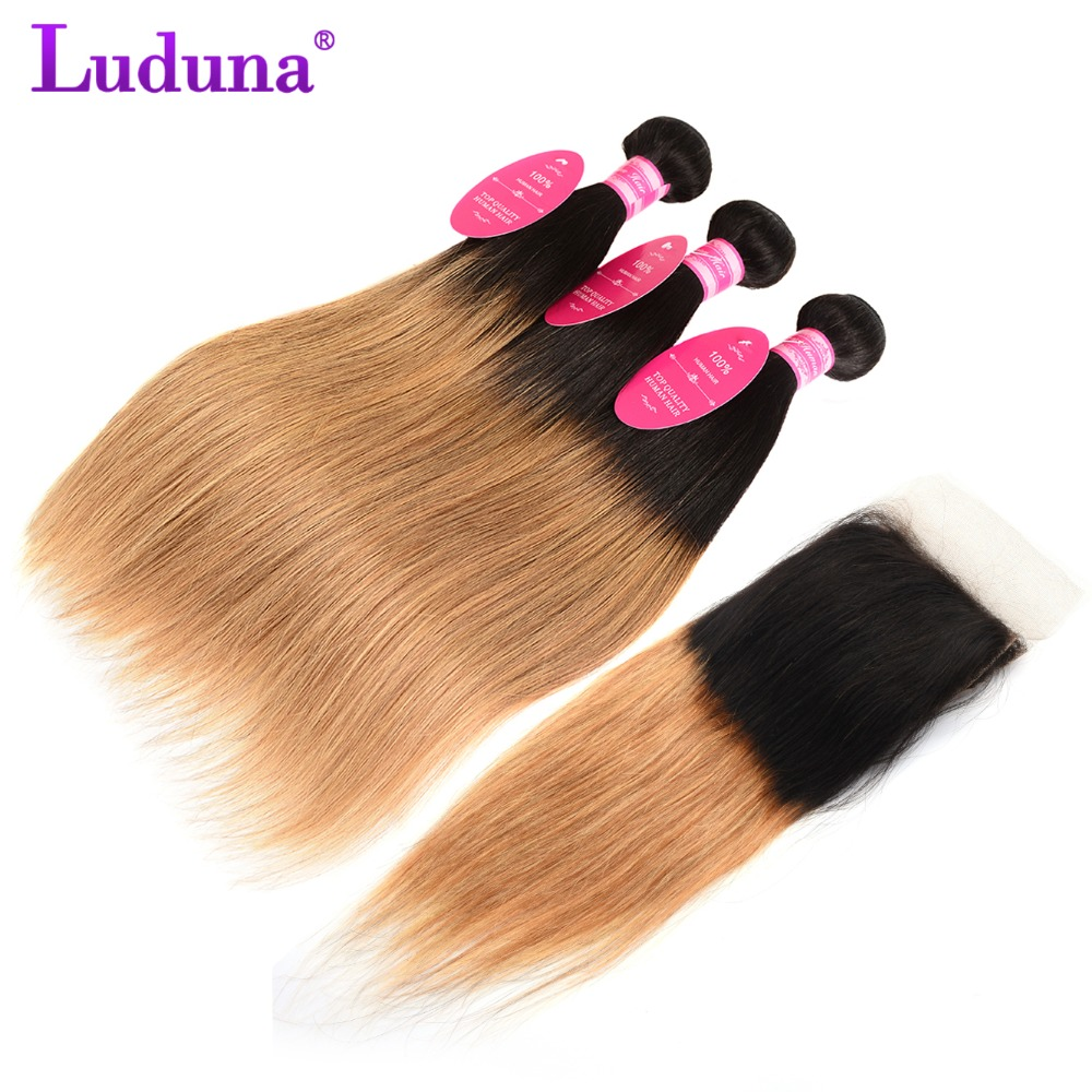 Ombre Bundles With Closure Malaysian Straight Hair Bundles With Closure 1B/27 3 Bundles With Closure Free Part Non Remy Luduna ...