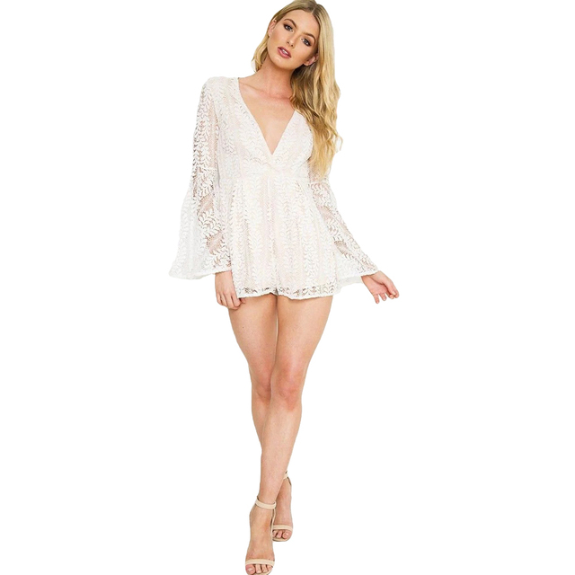 ed9ef5b145b7 New Sexy Women Playsuit Solid Sheer Floral Lace Plunge V Long Flare Sleeve  See Through Clubwear Fashion White Women Bodysuits