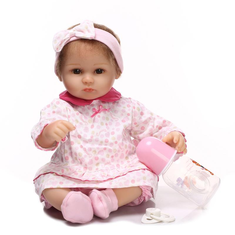 40cm 16inch Soft Silicone Vinyl Reborn Baby cotton Dolls Toys Alive Dol Lifelike Playmate Juguete Babies Doll Toys For Kids Gift 18 inch vinyl reborn doll kids playmate gift for girls 45 cm baby alive soft toys for children lifelike reborn babies dolls