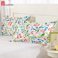 New One Two Pillow Case 100 Cotton Decorative Pillowcases Flowers Pillow Case Capa Printing Brief Style