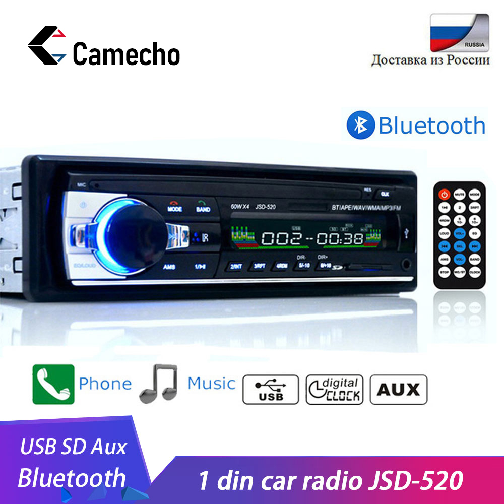 Camecho Bluetooth Autoradio Car Stereo Radio FM Aux Input Receiver SD USB JSD-520 12V In-dash 1 din Car MP3 Multimedia Player image