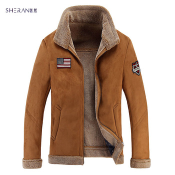 Men's Air Force Bomber Basic Coats Leather Jackets Warm Winter Thickening Faux Fur Coat Slim Zipper brand-clothing Manteau Homme