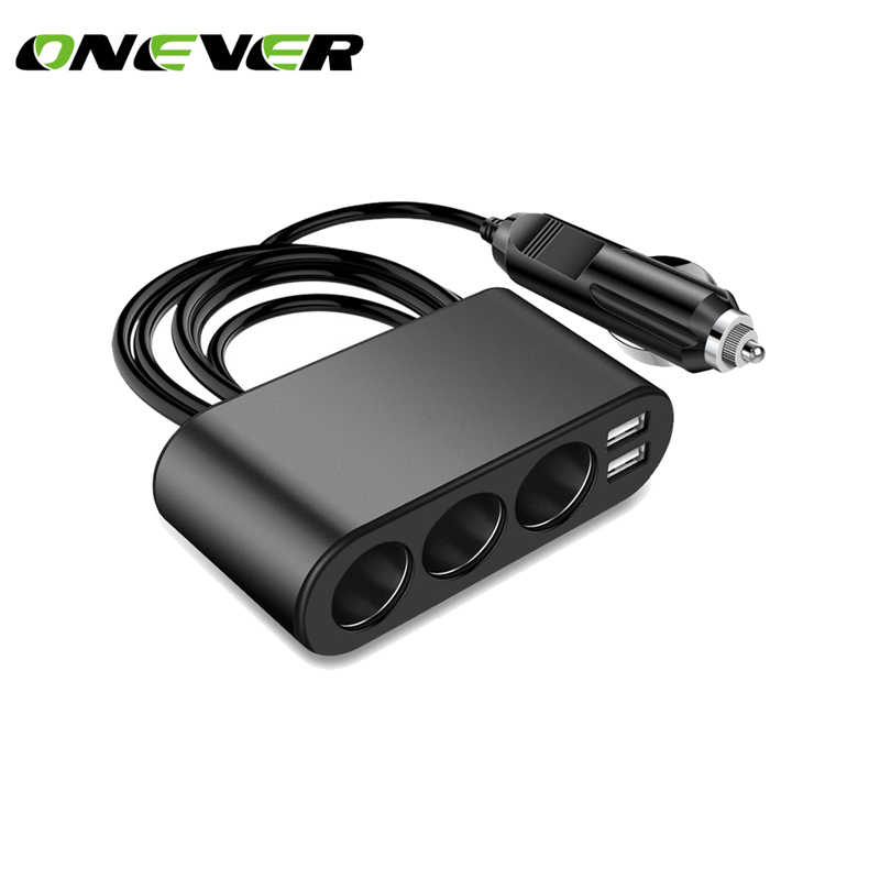 1 to 3 120W Cigarette Lighter Socket 3.1A Dual USB Car Charger Adapter Support Smart Fast Charge DC 12-24V