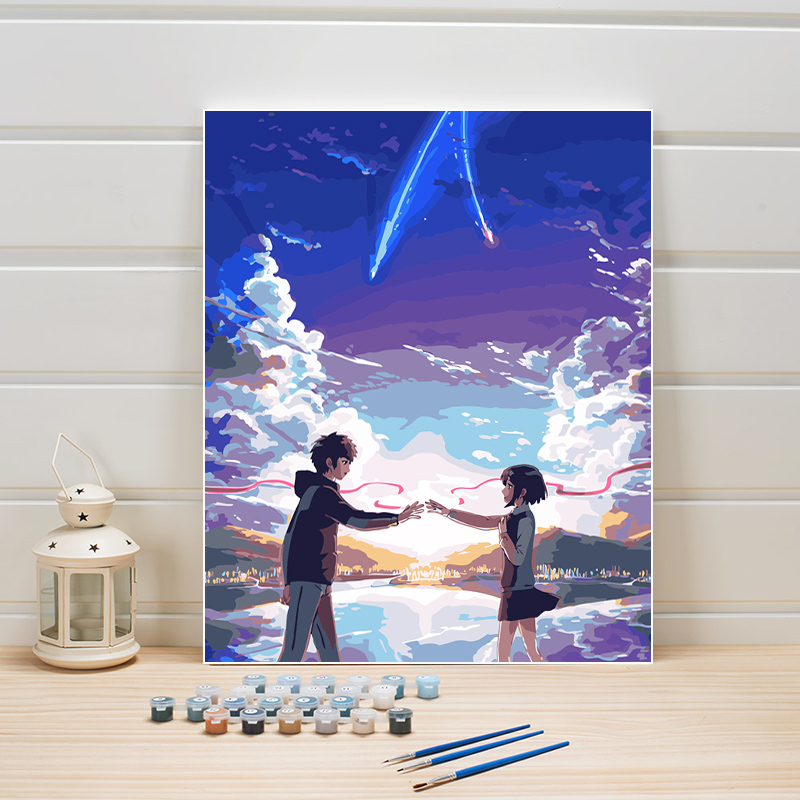 Hand Painted On Canvas Oil Painting Coloring By Numbers Movies Japan Cartoon Anime Film Acrylic Paint Color Module Picture Arts