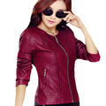 Plus Size Women Pu Leather Short Slim Jacket Round Neck Zipper Coat Female Outerwear 2016 New Fashion Jacke M-5XL ZP516