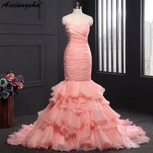 2018 New Arrival Blush Pink Wedding Dresses Mermaid Style Long Train Bridal Gowns