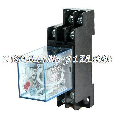 AC110/120V Coil Red Pilot Lamp DPDT Electromagnetic Relay 10A w DIN Rail Socket золотое кольцо ювелирное изделие 01k673574l