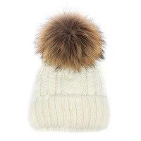 Wholesale & Retail 2016 Winter Snow Caps Knitted Beanie Hat With Raccoon Fur Pom Poms For Women Men Hip Hop Skullies Cap