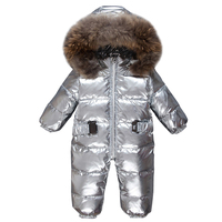 Dollplus Newborn Baby Jumpsuit Silver Duck Down Winter Snow Overalls Boys Girl Red Fur Romper Outfits Outdoor One Piece Jacket