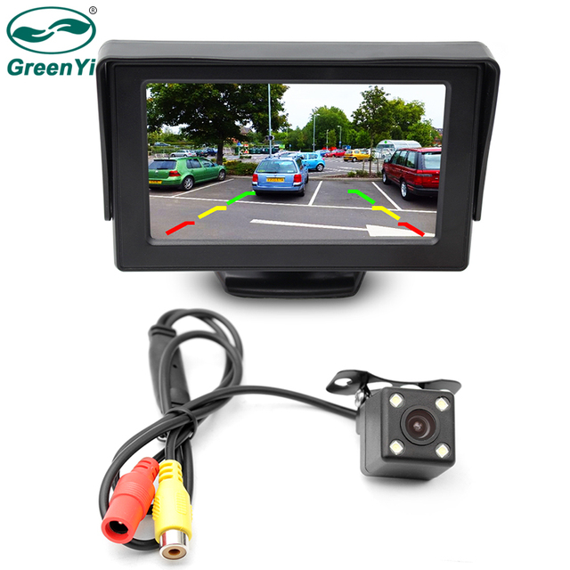 GreenYi 2In1 Car Parking System Kit 4.3″ TFT LCD Color Rearview Display Monitor + Waterproof Reversing Backup Rear View Camera
