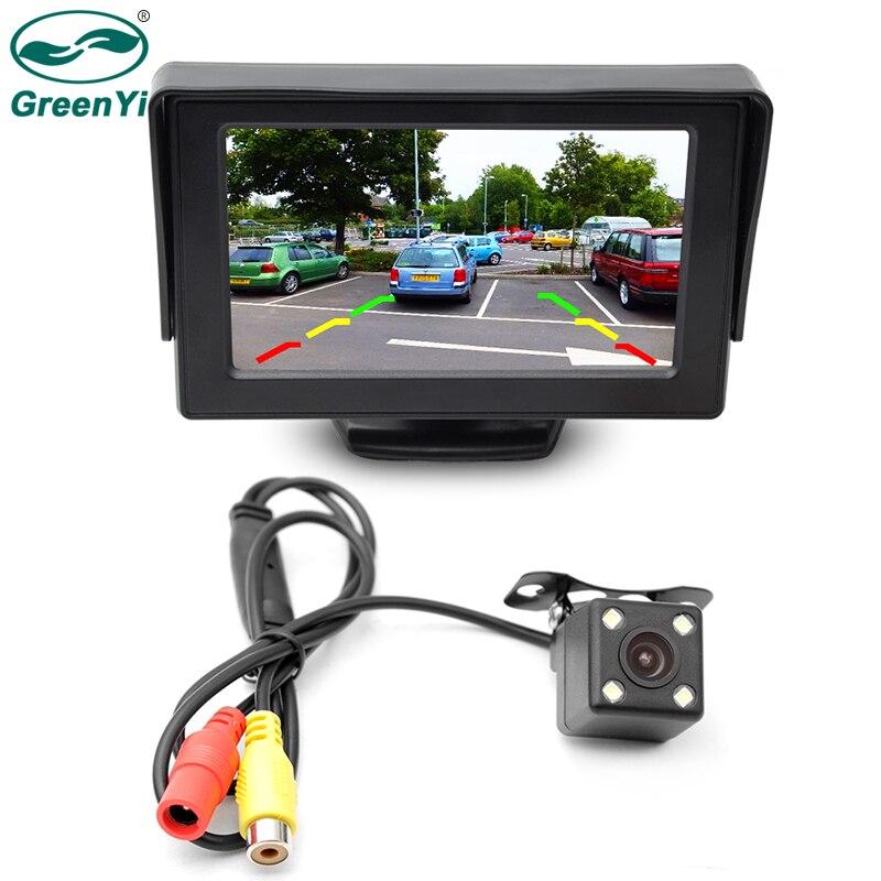 GreenYi 2In1 Voiture Parking Système Kit 4.3 TFT LCD Couleur Rétroviseur Moniteur D'affichage + Imperméable À L'eau De Recul Arrière Vue Caméra